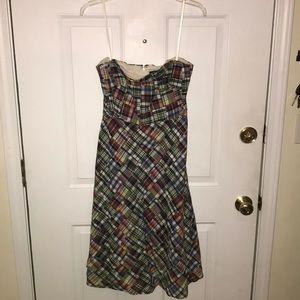 J. Crew madras plaid dress, strapless.